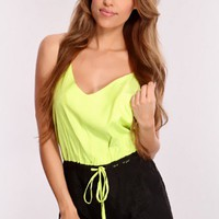 Lime Black Two Tone Romper Outfit