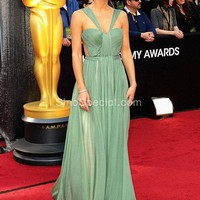 A-line Straps Floor Length Chiffon Celebrity Dress -SinoSpecial.com