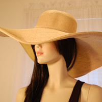 "XL Brim Vintage ""Natural Color"" Ultrabraid Woman's Sun Hat - 8.5 inch Brim / One Size"