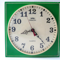 Vintage Green Kitchen Wall Clock
