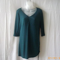 New Suzy Shier large teal 3/4 sleeve rayon top with v-neck and shirred side