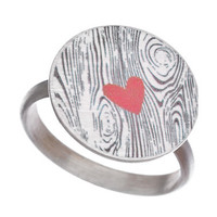 Carrie Saxl Silver Wood Grain and Red Heart Ring - Max & Chloe