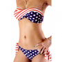 Sexy USA Nation Flag Print Strapless Push Up Bikini