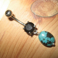 Belly Button Ring- Black and Blue Genuine Turquoise Bead Dangle Navel Piercing