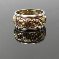 Beautiful Filigree Vintage Art Carved Two Tone Ruby Band - RGRY102N
