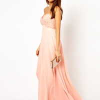 Forever Unique Applique Flower Bandeau Maxi Dress