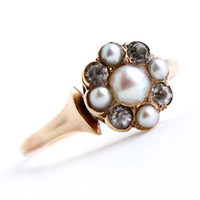Antique 10K Rose Gold Pearl & Paste Ring - Late Victorian - Early Edwardian Size 5 Fine Jewelry / Dainty Flower Cluster