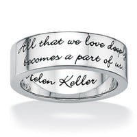 PalmBeach Jewelry Stainless Steel Enamel-Finish Inspirational Helen Keller Message Band Ring