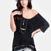 Tamara Lace Trim Oversized Tee - $32.00 : ThreadSence, Women&#x27;s Indie &amp; Bohemian Clothing, Dresses, &amp; Accessories