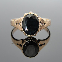 Large Antique Dark Blue Sapphire in Victorian Rose Gold Ring RGSA507D