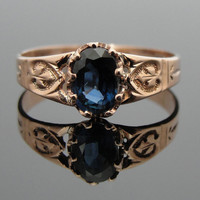 Victorian Rose Gold Childs Ring with Blue Sapphire RGSA510D