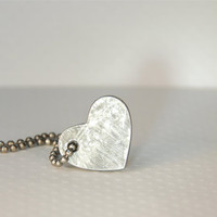 Space Geek  Falling Star Meteorite Heart Necklace