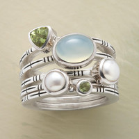 SEAFOAM STACK RINGS, SET OF 5         -                  Gemstone         -                  Rings         -                  Jewelry                       | Robert Redford's Sundance Catalog