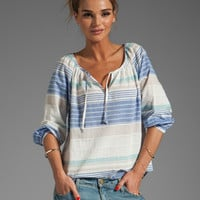 C&amp;C California Variegated Horizon Stripe 3/4 Peasant Top in Mirage from REVOLVEclothing.com