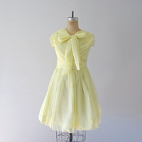 Yellow chiffon dress . vintage 1950s dress . 50s bridesmaid dress