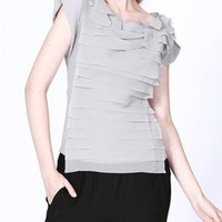 Concealed Zip Chiffon T-shirt with 3D Layering