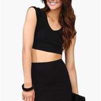 Silver Lining Crop Top - Black