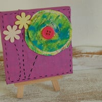 SALE....Paper Flowers......Original Mini Canvas Mixed Media Painting......Button Flower
