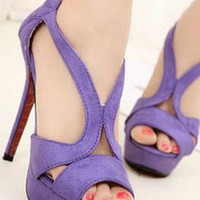 Ladies Fashion High Heel Cut Out Evening Shoes In PURPLE from NaomiShu