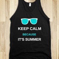 Keep Calm Summer - Teal/White