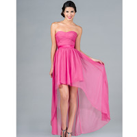 2013 Prom Dresses- Hot Pink Strapless High-Low Chiffon Dress - Unique Vintage - Prom dresses, retro dresses, retro swimsuits.
