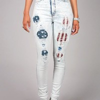 Acid Freedom High Waist Skinnys | Distressed Denim at Pink Ice