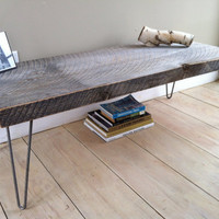 Weathered barnwood coffee table, modern rustic style featuring hairpin legs, 20&quot; x 48&quot;.