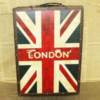 Union Jack Pattern Suitcase Box with Wheels