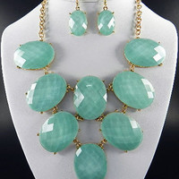 Turquoise Oval Shape Statement Necklace & Earring Set
