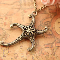 starfish necklace,retro bronze 3D starfish necklace---N088