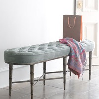 Antiqued-Teal Tufted Bench