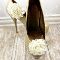 Flower SHOE CLIPS in White, Ivory or Cream, Wedding Shoe Accessories