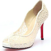 [67.99] Fashionable Lace Mesh White Stiletto Heel Pumps Peep Toe Bridal Party /  Evening Shoes  - Dressilyme.com