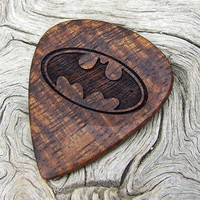 Hawaiian Koa Wood Guitar Pick - Handmade Laser Engraved Premium Wood Pick - Batman Tribute