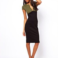 ASOS Sexy Pencil Dress In Colour Block at asos.com