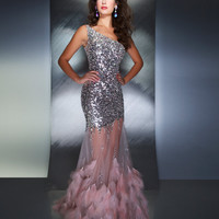 Mac Duggal Prom 2013 - Blush Sequin One Shoulder Mermaid Prom Dress - Unique Vintage - Prom dresses, retro dresses, retro swimsuits.
