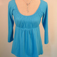 J.Crew top S SMALL blue 3/4 sleeve empire waist baby doll tunic ruched collar
