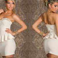 wwwbeautycall — Sexy punk strapless dress with a dress