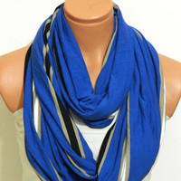 Infinity Scarf, textile Bej,Blue, Scarf,Loop Scarf,Circle Scarf,Cowl Scarf,Nomad Cowl....Striped Scarf