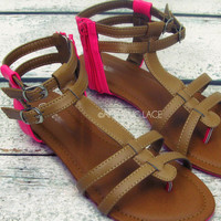 Poppin Color Neon Pink & Tan Strappy Sandals
