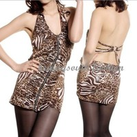 Wild Womens Leopard Open Back Backless Lapel V-neck Clubwear Mini Dress