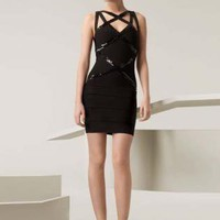 Bqueen Sequin-applique Bandage Dress H020H