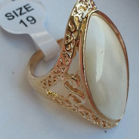 Natural Cat Eye Gemstone stone Gold Plated Ring