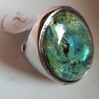 Large Ablone Shell Gemstone Silver Plated Ring