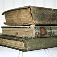 Vintage Stack of Books / Vintage Olive Green Books