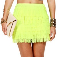 Neon Yellow Fringe Mini Skirt