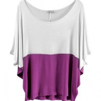 Batwing Sleeves T-Shirt with Roseo Color Insert