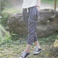 Fashion Elastic Waist With Drawstring Kangaroo Pocket Pants Dark Gray