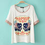 Elephant Loose T-shirt With Little Flowers Sleeves &amp;Neck