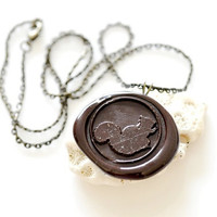 Personalized Wax Seal Necklace - Squirrel - 10 Colors Available